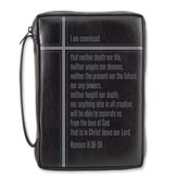 Romans 8 Bible Cover, Black, Large