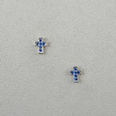 Crystal Cross Earrings, Blue