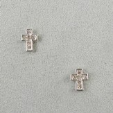 Crystal Cross Earrings, Pink