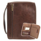 Leather-Look Bible Cover Organizer, Brown, Large
