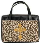 Leopard Bible Cover with Cross, X-Large