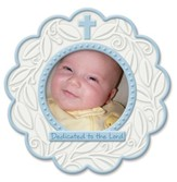 Dedicated To the Lord, Round Photo Frame, Blue