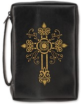 Embossed Fancy Cross Bible Cover, Black, X-Large