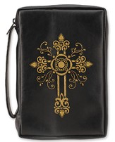 Embossed Fancy Cross Bible Cover, Black, Large