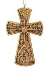 Nativity Cross Hanging Ornament
