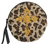 Leopard Coin Purse with Cross