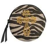 Zebra Coin Purse with Cross
