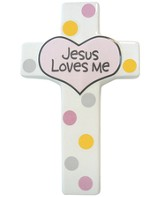 Jesus Loves Me, Wall Cross, Pink
