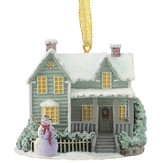 Blessings of Christmas Cottage with Snowman Ornament