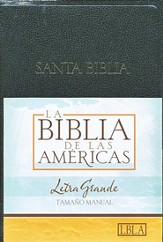 LBLA Biblia Letra Grande Tamano Manual, LBLA Hand Size Giant  Print Bible, Black Imitation Leather, Thumb-Indexed