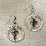 Cross in Ring Earrings