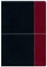 KJV Large Print UltraThin Reference Bible, Black and Burgundy Imitation Leather, Thumb-Indexed