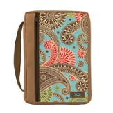 Ichthus Bible Cover, Paisley, Coco Brown, Medium