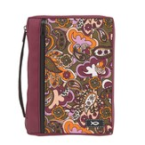 Ichthus Bible Cover, Paisley, Burgundy, Medium