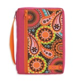 Ichthus Bible Cover, Spiral Floral, Pink and Orange, Large