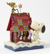 Peanuts Figurine, Snoopy Decorating With Woodstock