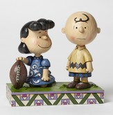 Peanuts Figurine, Lucy and Charlie Playing Football
