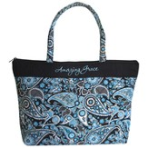 Amazing Grace Tote Bag, Blue Paisley