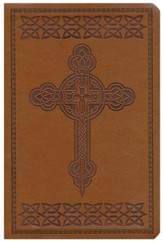 KJV Large Print Personal Size Reference Bible, Tan Imitation Leather with Cross Design