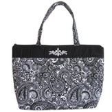 Cross Tote Bag, Black and White Paisley