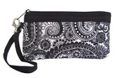 Cross Wristlet, Black and White Paisley