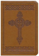 KJV Large Print Compact Reference Bible, Tan   Imitation Leather with Cross Design