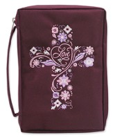 Bible Cover, Embroidered Cross, Burgundy, X-Large