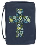 Bible Cover, Embroidered Cross, Navy, X-Large