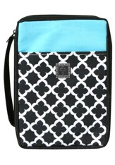 Bible Cover, Cross Geo Pattern Black, White & Turquoise, X-Large