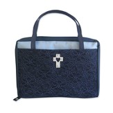 Bible Cover, Fashion Lace, Midnight Blue, Large