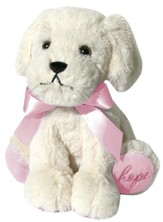 Plush-Puppy-Cream with Pink accents