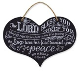 Heart Plaque, Chalkboard, Lord Bless You