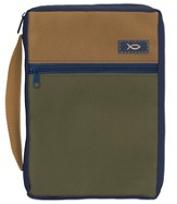 Olive & Tan Bible Cover, Large