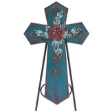 Decorative Cross Plaque with Easel, Blue