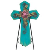 Decorative Cross Plaque with Easel, Teal