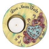 Love Never Fails Tea Light Holder, Green