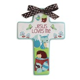 Jesus Loves Me Wall Cross, Fox, Blue