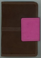 NKJV Compact UltraThin Reference Bible, Brown and Pink Imitation Leather with Magnetic Flap - Imperfectly Imprinted Bibles