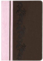 KJV Rainbow Study Bible, Pink and Brown LeatherTouch - Imperfectly Imprinted Bibles