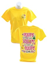 Girly Grace, Happy To Know God Shirt, Yellow, Large