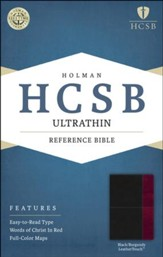 HCSB Ultrathin Reference Bible, Black and Burgundy LeatherTouch
