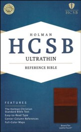 HCSB Ultrathin Reference Bible, Brown & Tan LeatherTouch