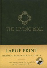Living Bible: Large-Print, Green Padded Hardcover (indexed)