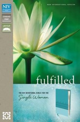 Fulfilled: The NIV Devotional Bible for the Single Woman, Italian Duo-Tone, Caribbean Blue/Turquoise