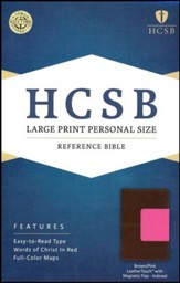 HCSB Large Print Personal Size Bible, Pink and Brown LeatherTouch with Magnetic Flap, Thumb-Indexed