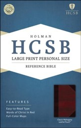 HCSB Large Print Personal Size Bible, Classic Mahogany LeatherTouch