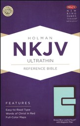 NKJV Ultrathin Reference Bible, Brown and Blue LeatherTouch with Magnetic Flap
