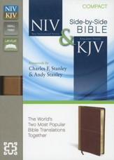 NIV and KJV Side-by-Side Bible, Compact: God's Unchanging Word Across the Centuries, Italian Duo-Tone, Camel/Rich Red - Imperfectly Imprinted Bibles