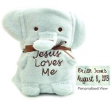 Personalized, Jesus Loves Me Elephant Blanket
