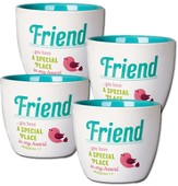 Ceramic Flower Pot, Happy, Friend. Set of 4